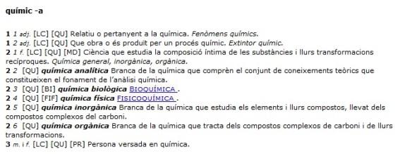 Entrada 'químic -a' al 'Diccionari de la llengua catalana'.
