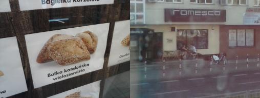 El panet català i el restaurant Romesco a través de la finestra bruta de l'autobús