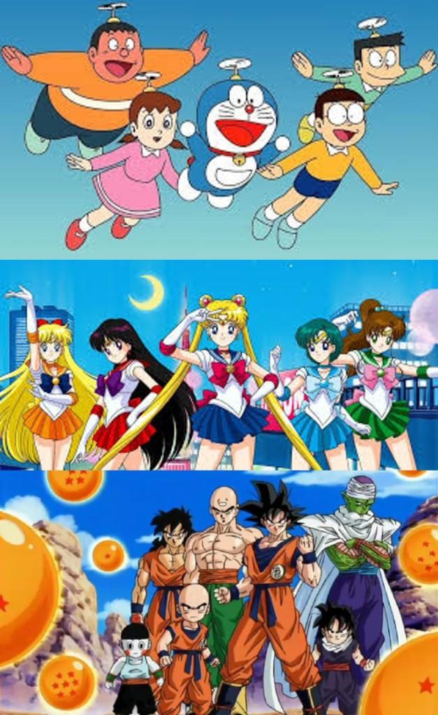 Imatge en tres seccions horitzontals. A dalt hi ha els personatges principals de Doraemon volant amb el casquet volador. Al mig, les marineres de Marinera Lluna. A sota, els personatges principals de Bola de drac.